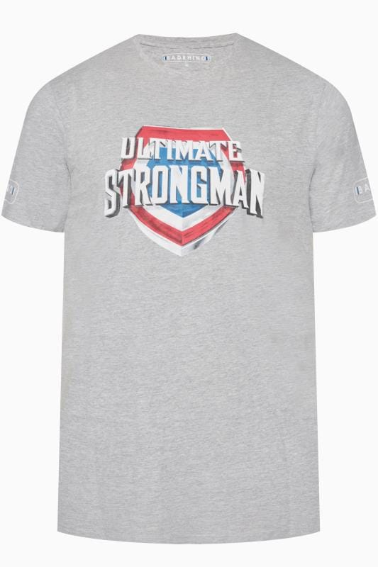 T-Shirts BadRhino Marl Grey 'Ultimate Strongman' T-Shirt 201115