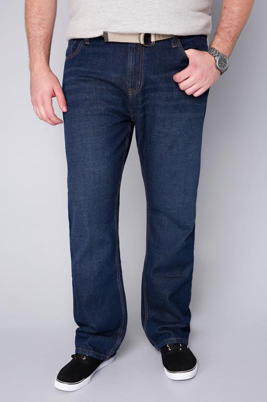BadRhino Indigo Blue Denim Comfort Jeans With Light Brown Belt