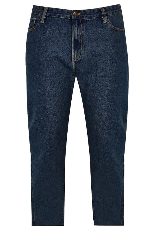 BadRhino Indigo Denim Straight Leg Stretch Jeans With Unfinished Raw Hem
