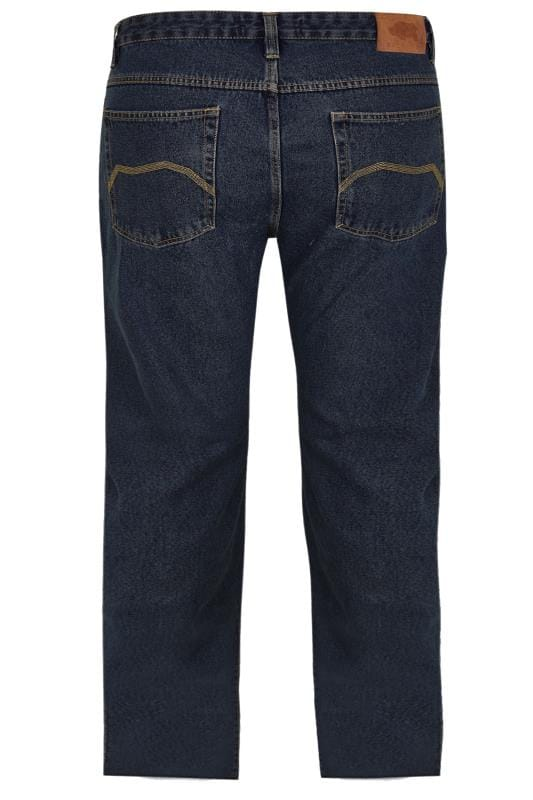 Straight BadRhino Indigo Denim Straight Leg Stretch Jeans With Unfinished Raw Hem 200460