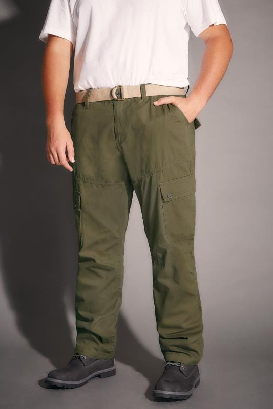 BadRhino Khaki Cargo Trouser With Utility Pockets & Canvas Belt