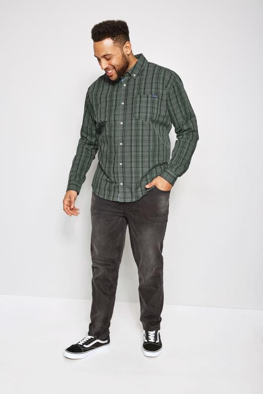 BadRhino Khaki Checked Shirt With Button Down Collar