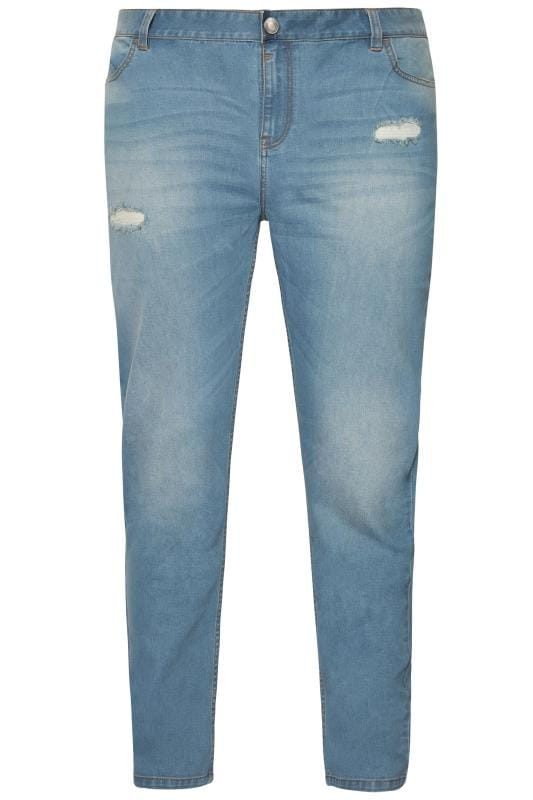 Straight BadRhino Light Blue Distressed Slim Leg Jeans 200694
