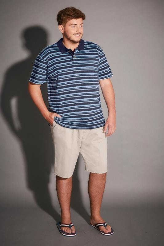 BadRhino Light Blue & Navy Stripe Polo Shirt - TALL