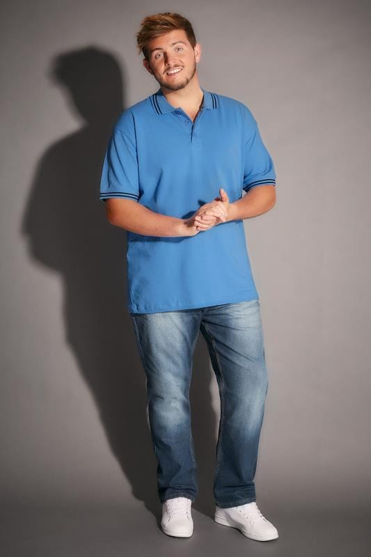 BadRhino Light Blue Polo Shirt With Navy Stripe Detail