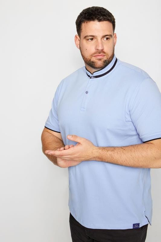 BadRhino Light Blue Stretch Grandad Polo Shirt