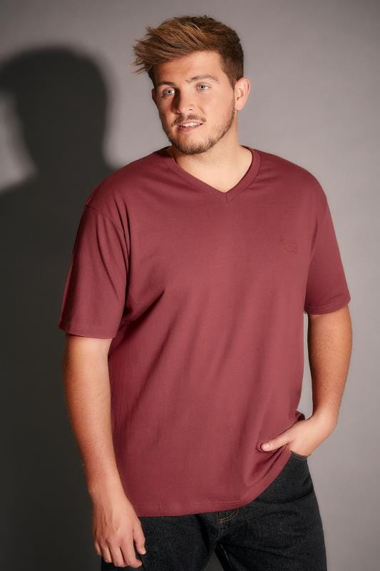 BadRhino Light Brown V-Neck Basic T-Shirt - TALL