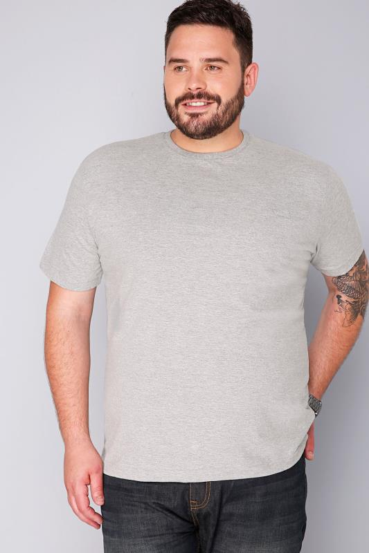 BadRhino Light Grey Marl Basic Plain Crew Neck T-Shirt