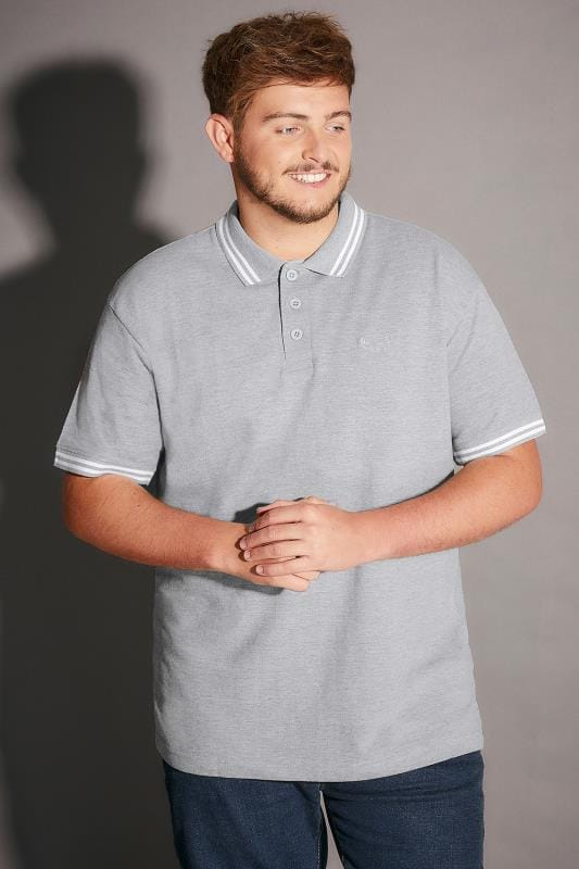 BadRhino Light Grey Marl Polo Shirt With White Stripe Detail - TALL