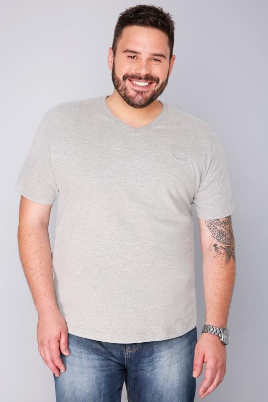 BadRhino Light Grey Marl V-Neck Basic T-Shirt - TALL