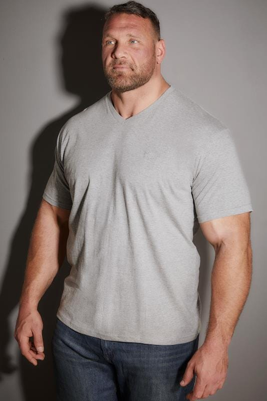 BadRhino Light Grey Marl V-Neck Basic T-Shirt