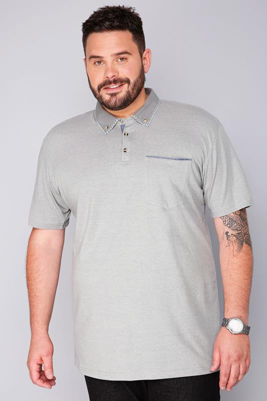 BadRhino Light Grey Short Sleeve Polo Shirt With Check Trim