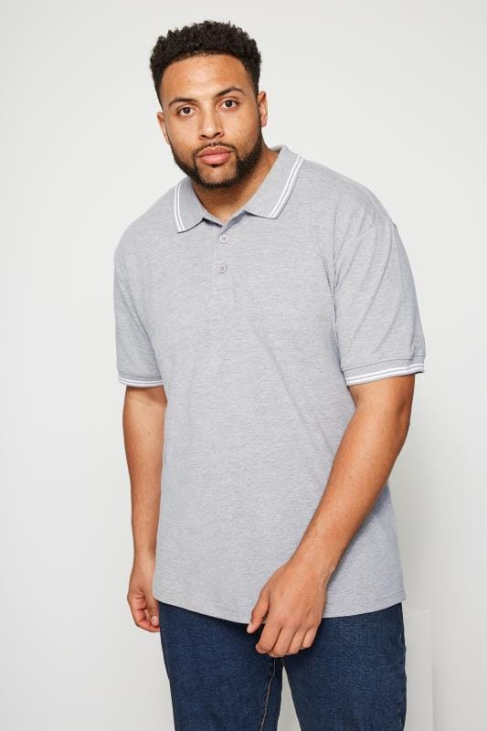 BadRhino Light Grey Textured Tipped Polo Shirt