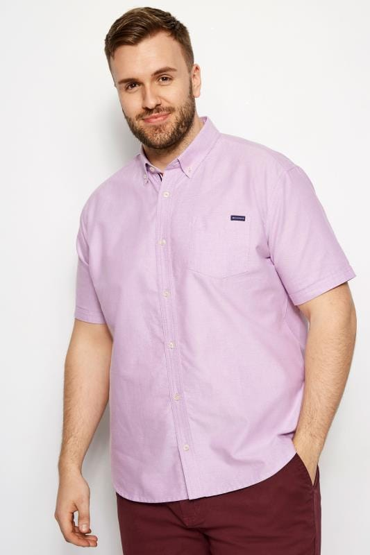 BadRhino Lilac Cotton Short Sleeved Oxford Shirt