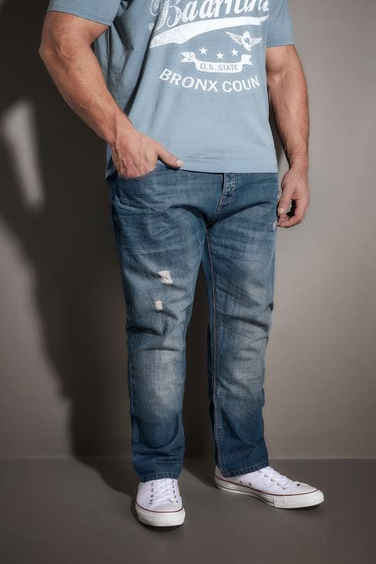 Tapered BadRhino Mid Blue Rip & Repair Denim Tapered Jeans 101848