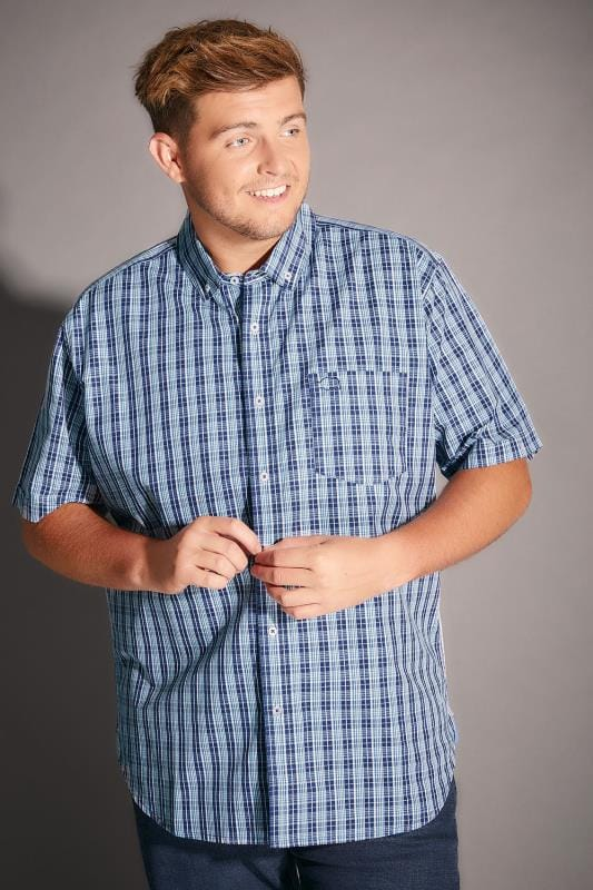 BadRhino Multi Blue & White Small Grid Check Short Sleeve Shirt