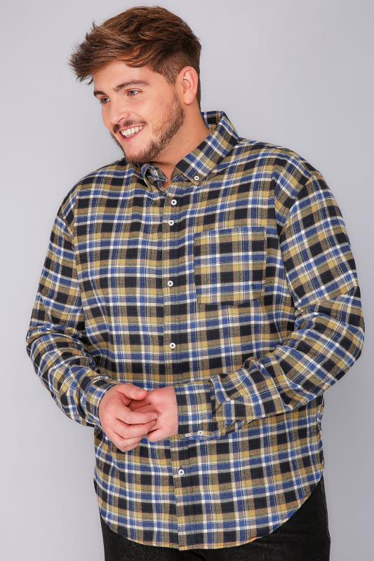 Casual Shirts BadRhino Mustard Brushed Checked Shirt 110114
