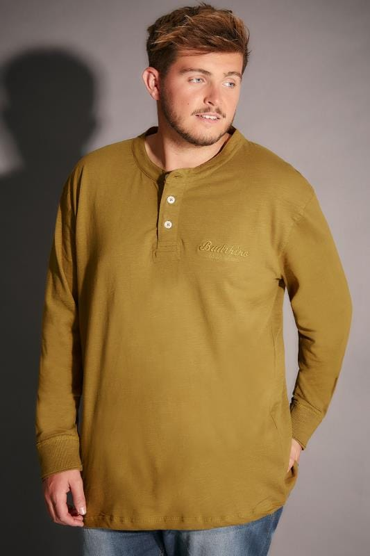 BadRhino Mustard Yellow Long Sleeved Henley Top - TALL