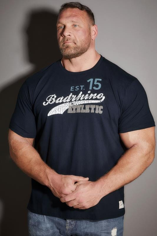 T-Shirts BadRhino Navy 'Athletic' Slogan T-Shirt 200136