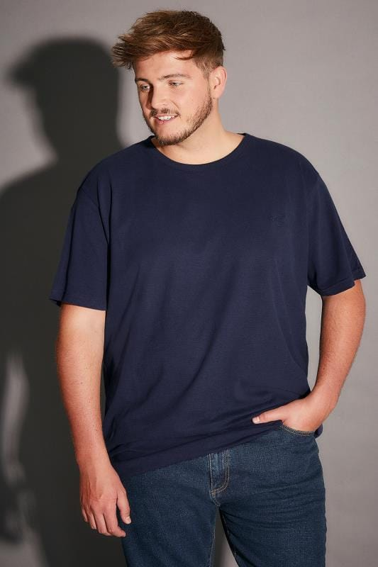 BadRhino Navy Basic Plain Crew Neck T-Shirt