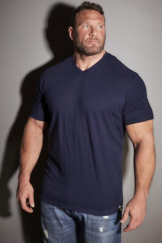 80f083e810bc BadRhino Navy Basic Plain V-Neck T-Shirt Extra large sizes M