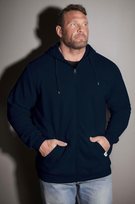 Hoodies BadRhino Navy Basic Sweat Hoodie With Pockets 200197