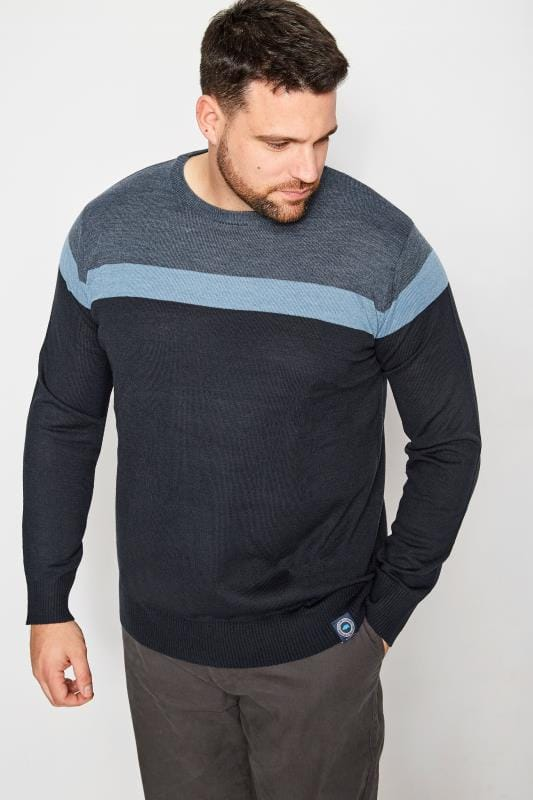 Jumpers BadRhino Navy Block Stripe Jumper 200857