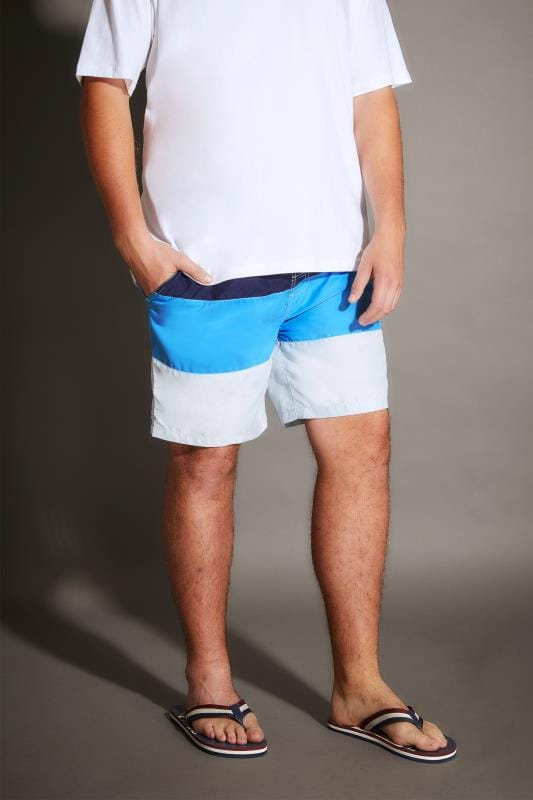 BadRhino Navy, Blue & Grey Colour Block Swim Shorts