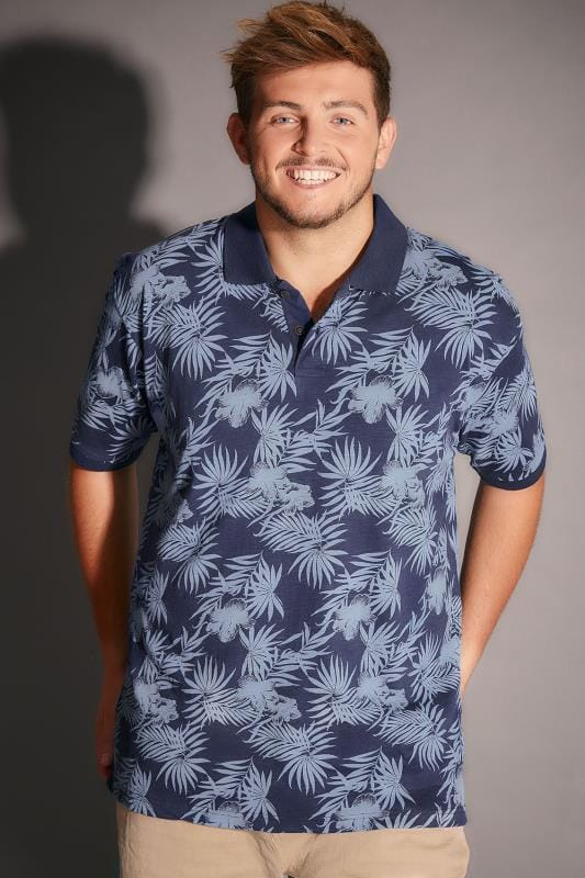 Polo Shirts BadRhino Navy & Blue Palm Tree Print Polo Shirt 200144