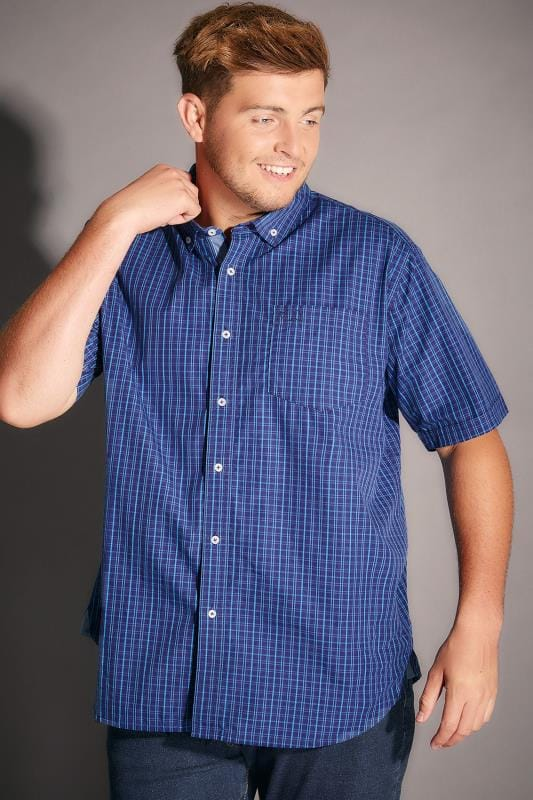 BadRhino Navy & Blue Small Grid Check Short Sleeve Shirt - TALL