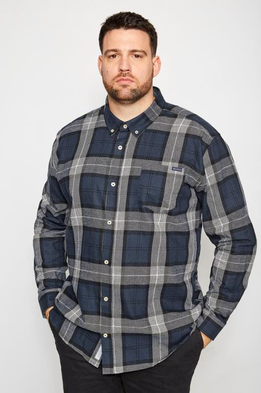 BadRhino Navy Brushed Checked Shirt