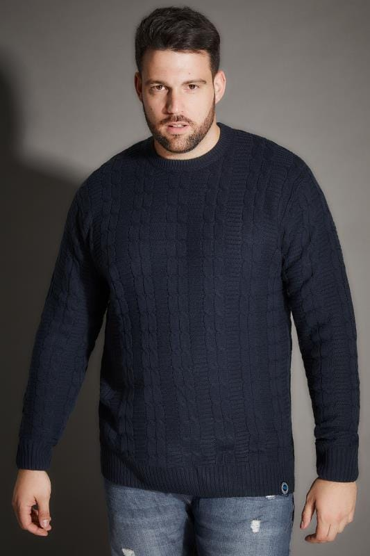 Jumpers BadRhino Navy Cable Knit Jumper 200341
