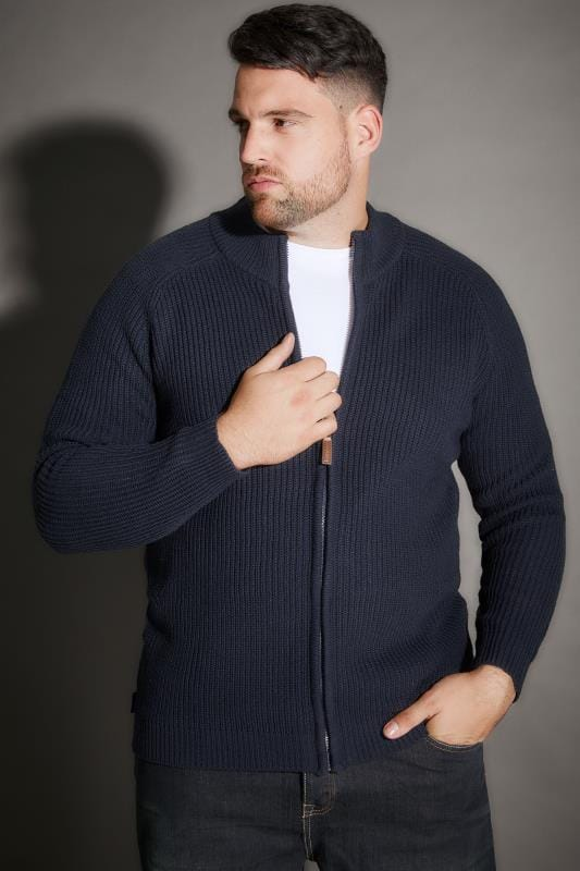 BadRhino Navy Rib Knit Sweater With Funnel Neck