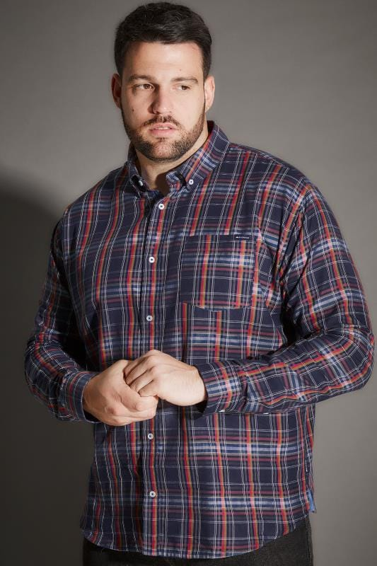BadRhino Navy Checked Shirt With Chest Pocket