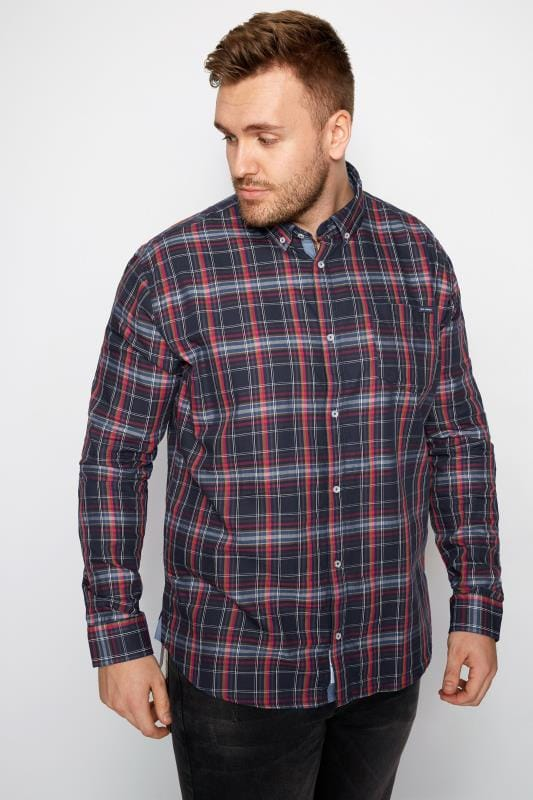 Casual Shirts BadRhino Navy Checked Shirt With Chest Pocket 200427
