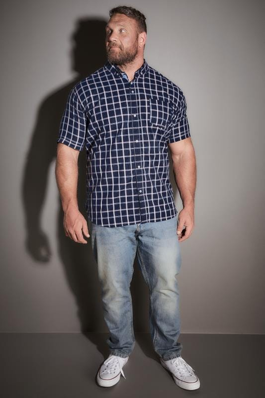 BadRhino Navy Checked Short Sleeved Shirt