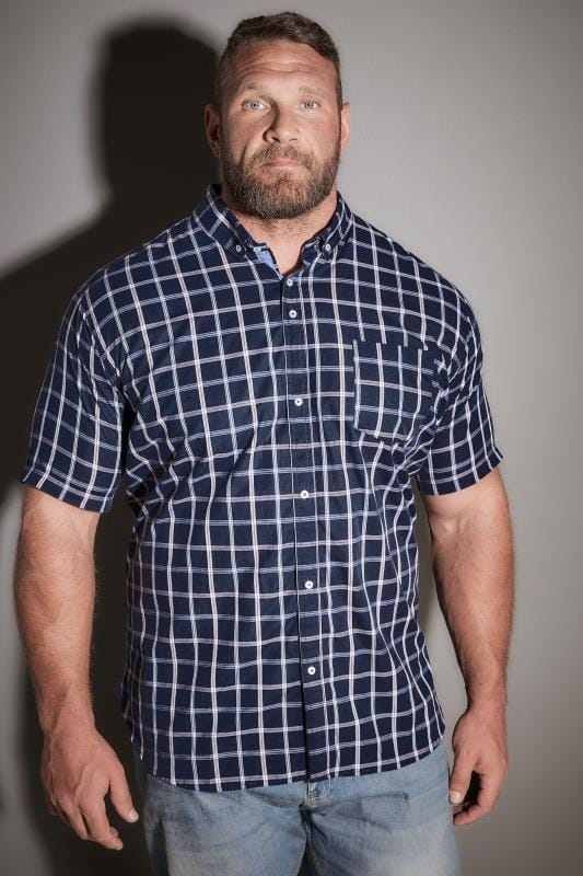 Casual Shirts BadRhino Navy Checked Short Sleeved Shirt 110140