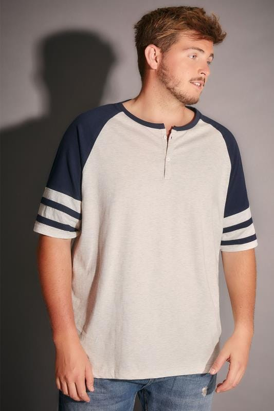 BadRhino Navy & Cream Marl Baseball Stripe Sleeve T-Shirt With Button Detail - TALL