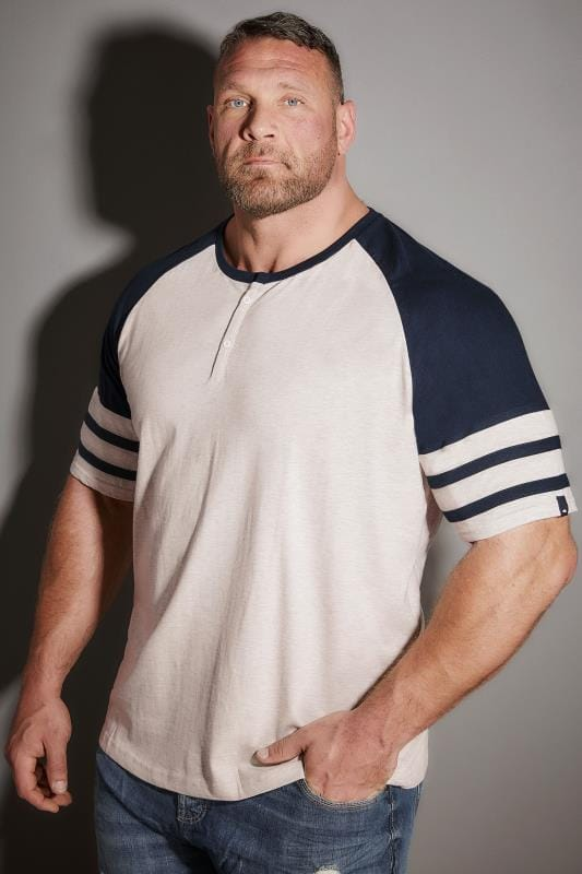 T-Shirts BadRhino Navy & Cream Marl Baseball Stripe Sleeve T-Shirt With Button Detail 200107