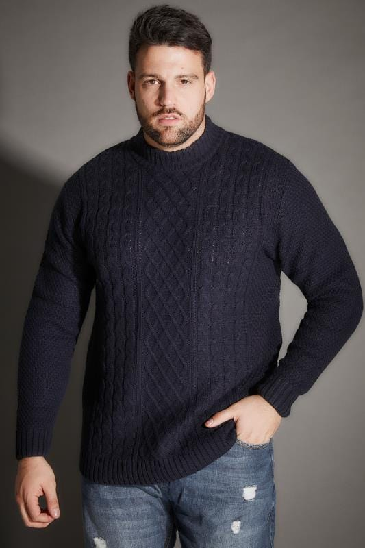 BadRhino Navy Crew Neck Cable Knit Sweater