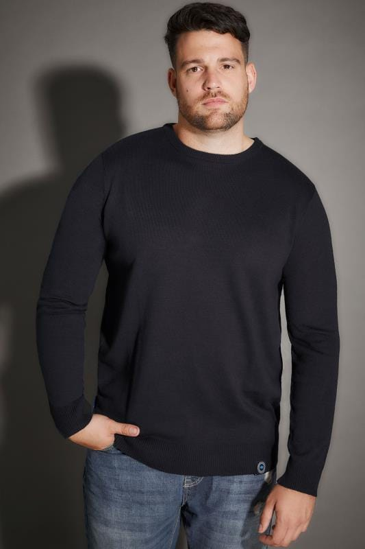 BadRhino Navy Crew Neck Fine Knit Jumper - TALL