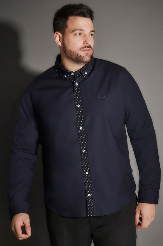 BadRhino Navy Double Collar Smart Shirt With Patterned Finish