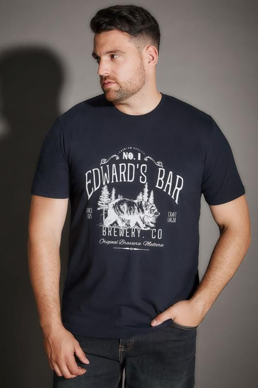 BadRhino Navy 'Edward's Bar' Slogan Print T-Shirt