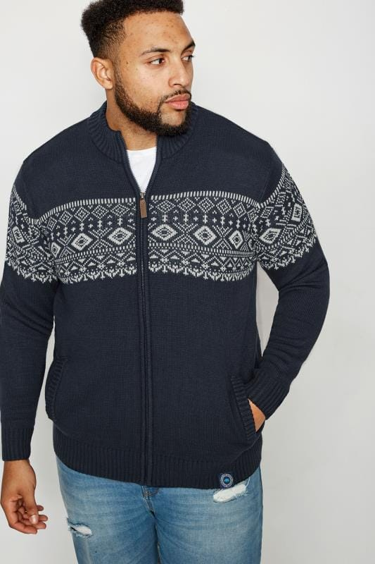 Cardigans BadRhino Navy Fairisle Zip Through Sweater 200652