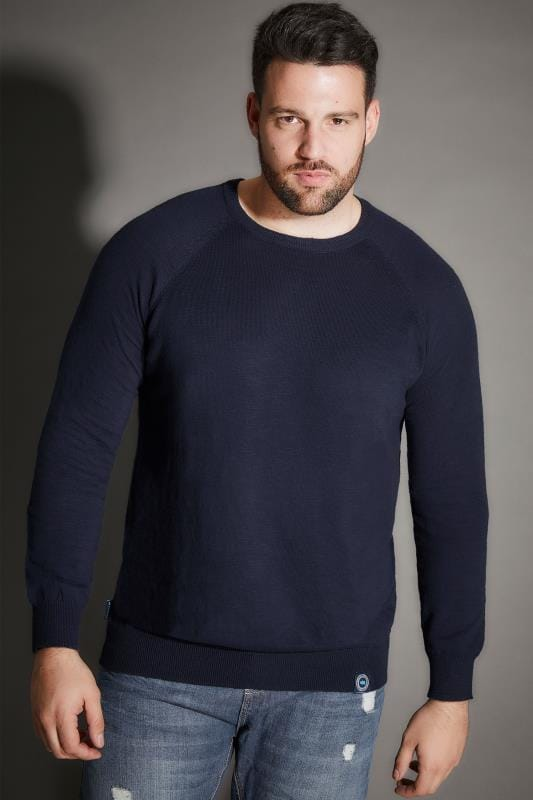 Jumpers BadRhino Navy Premium Slub Cotton Jumper With Crew Neck 200339