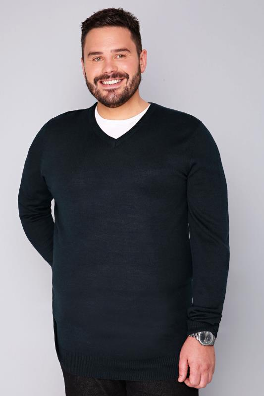 BadRhino Navy Fine Knit V Neck Jumper - TALL