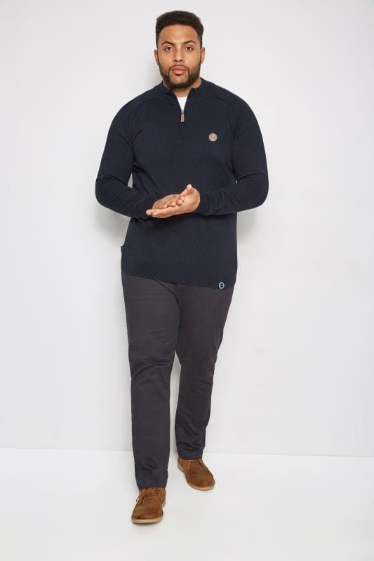 BadRhino Navy Fine Knit Zip Jumper