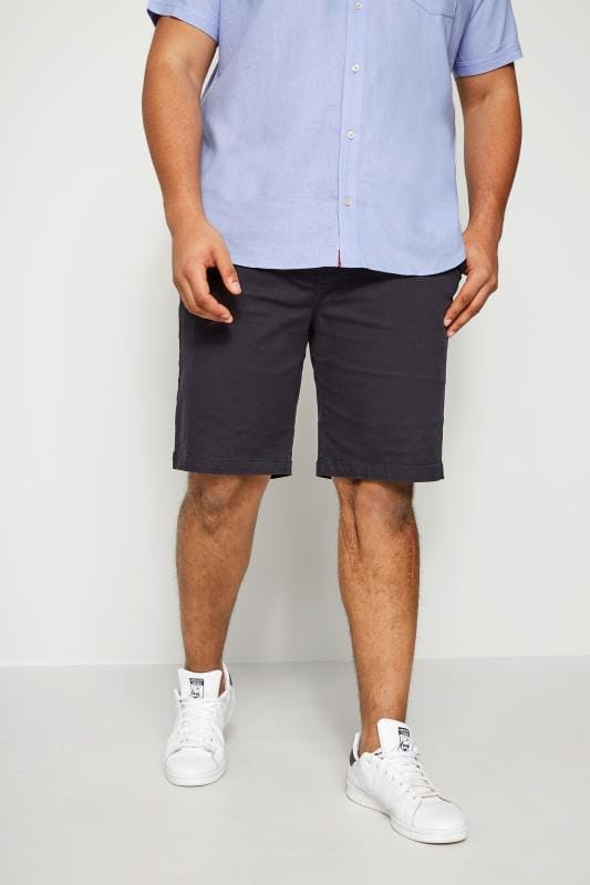 BadRhino Navy Five Pocket Chino Shorts With Belt