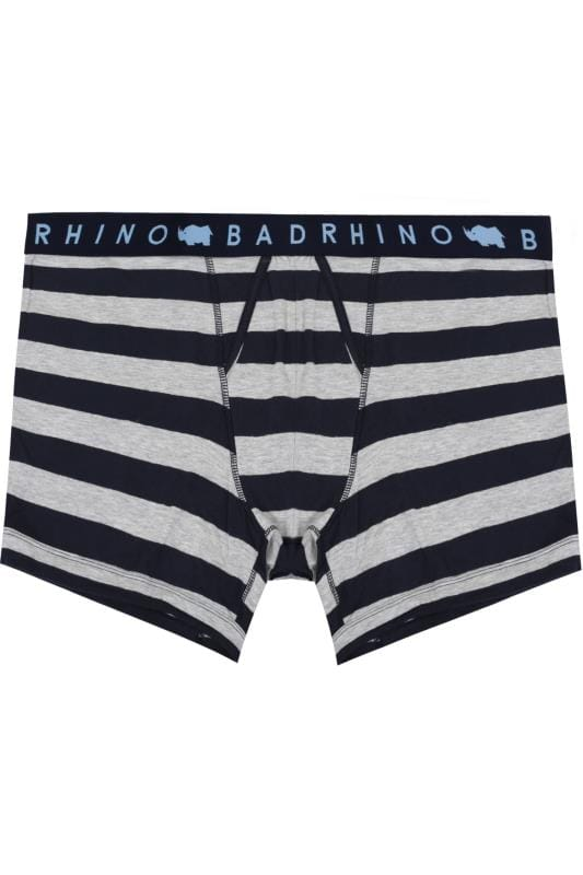Boxers & Briefs BadRhino Navy & Grey Block Striped A Front Boxers 200464