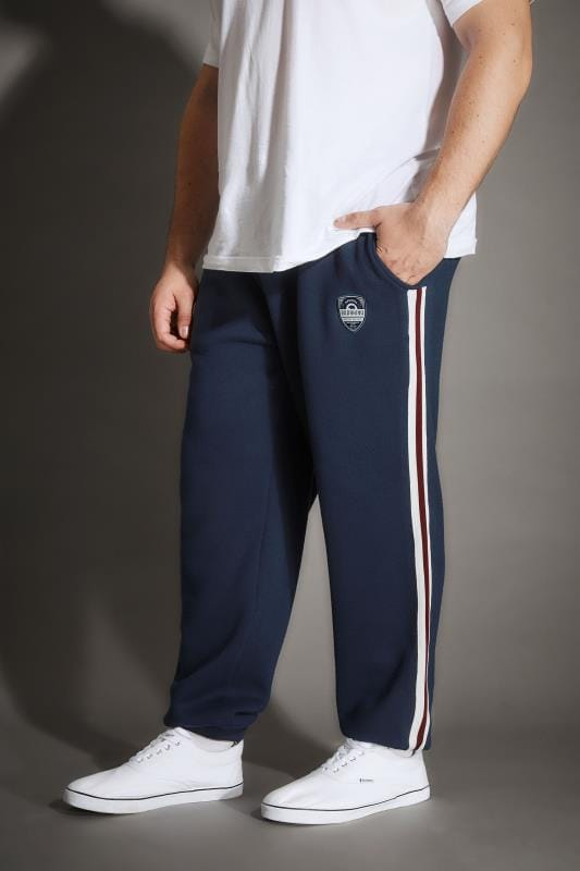 BadRhino Navy Joggers With Applique Badge & Double Stripe Detail